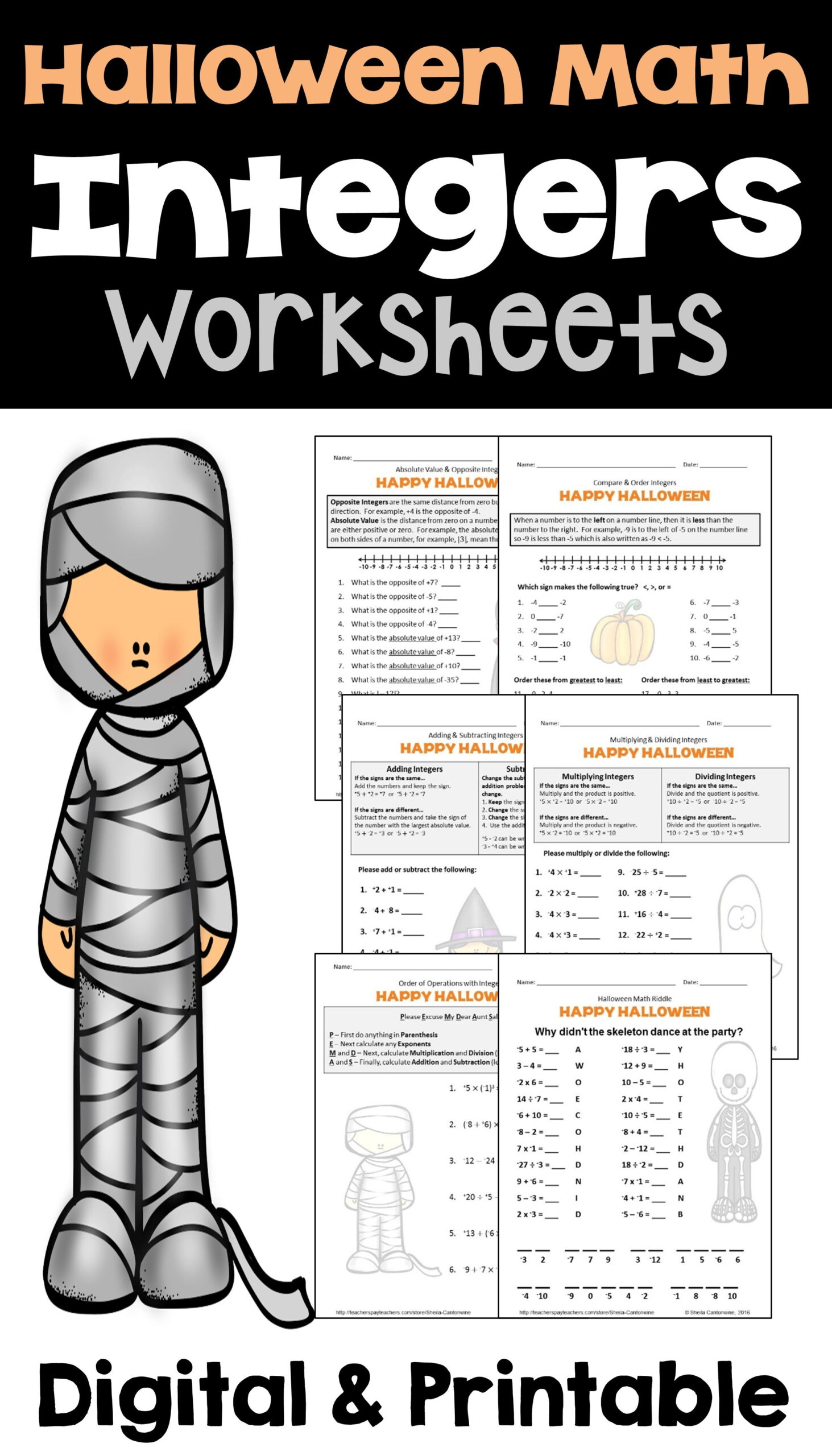 Fun Halloween Worksheets For 6th Graders