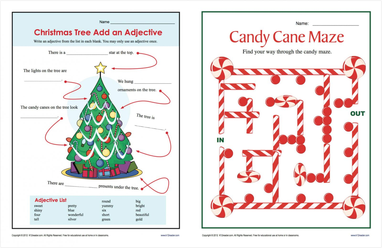 Christmas Printable Worksheets For Middle School