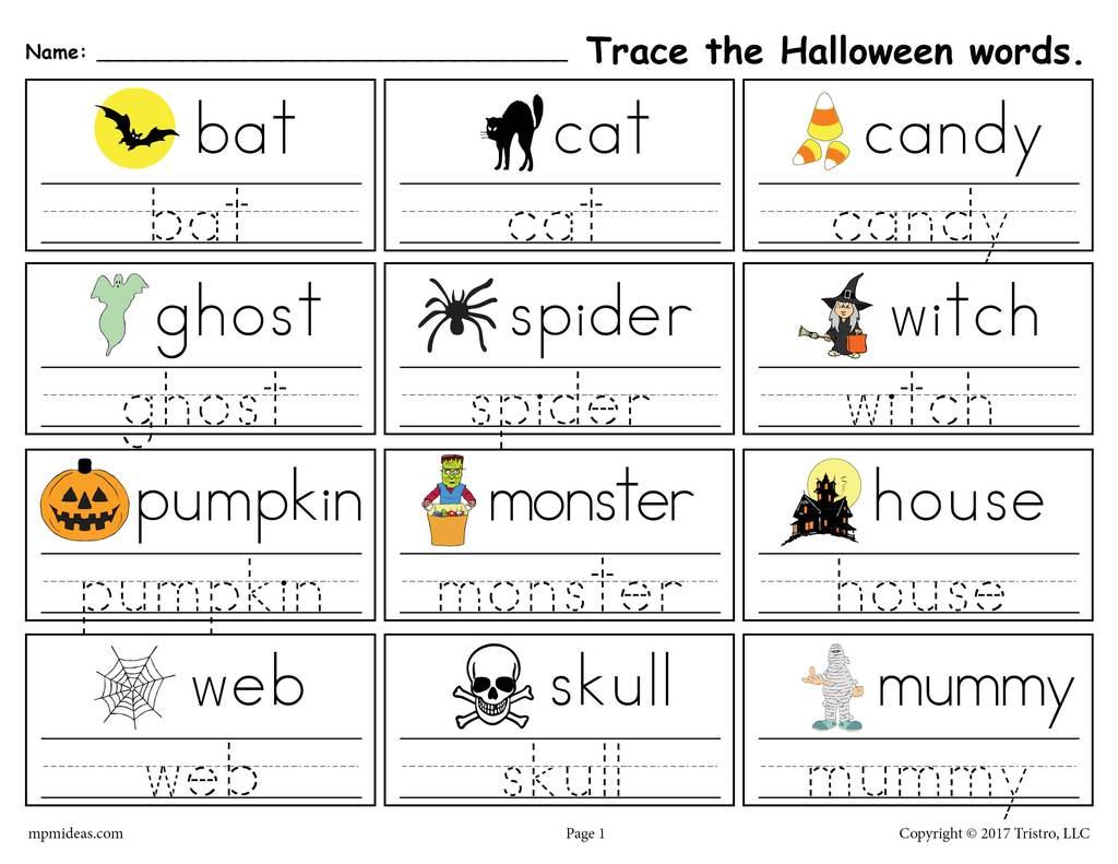 Halloween Tracing Worksheets For Preschool