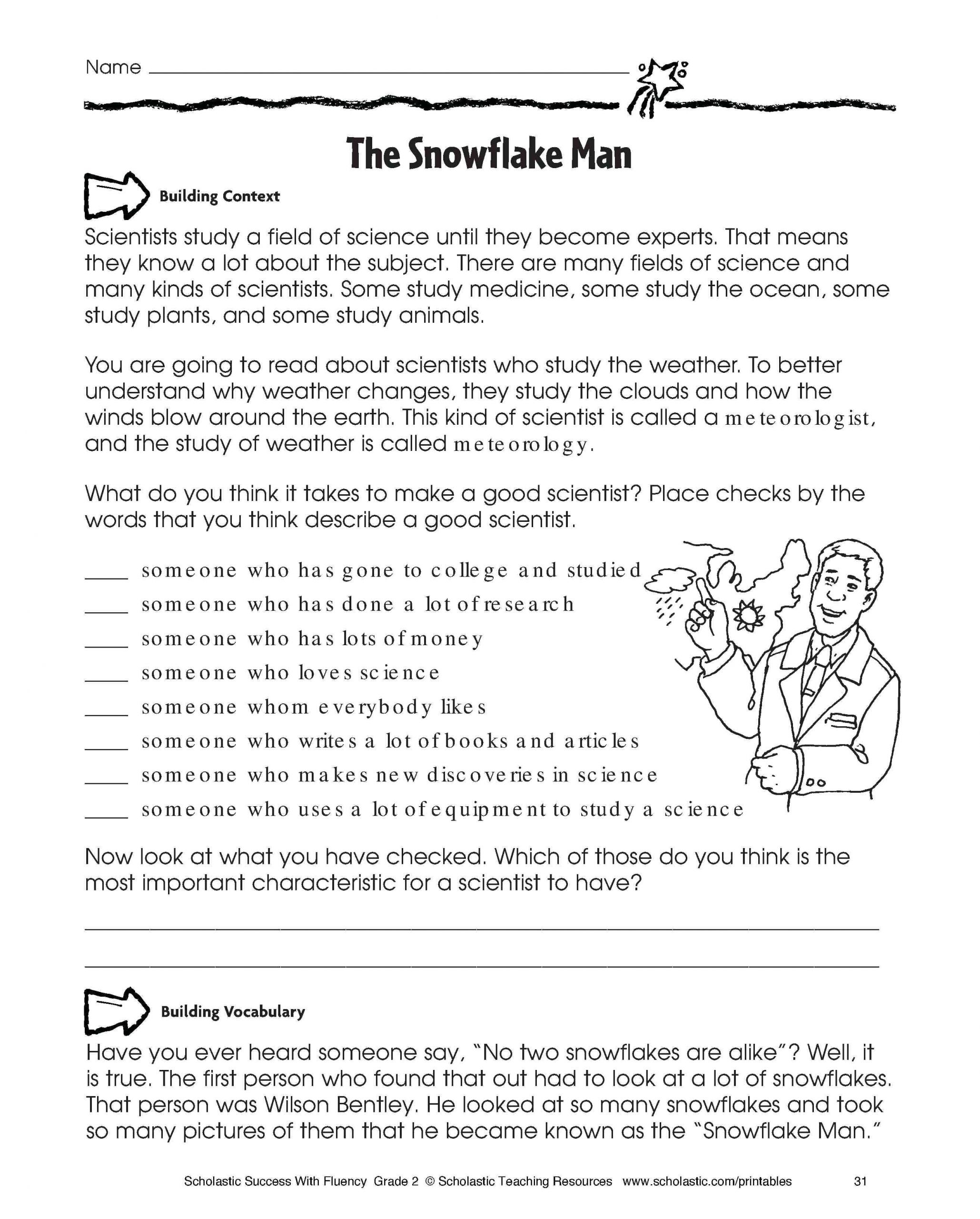 Christmas Reading Comprehension Worksheets Middle School