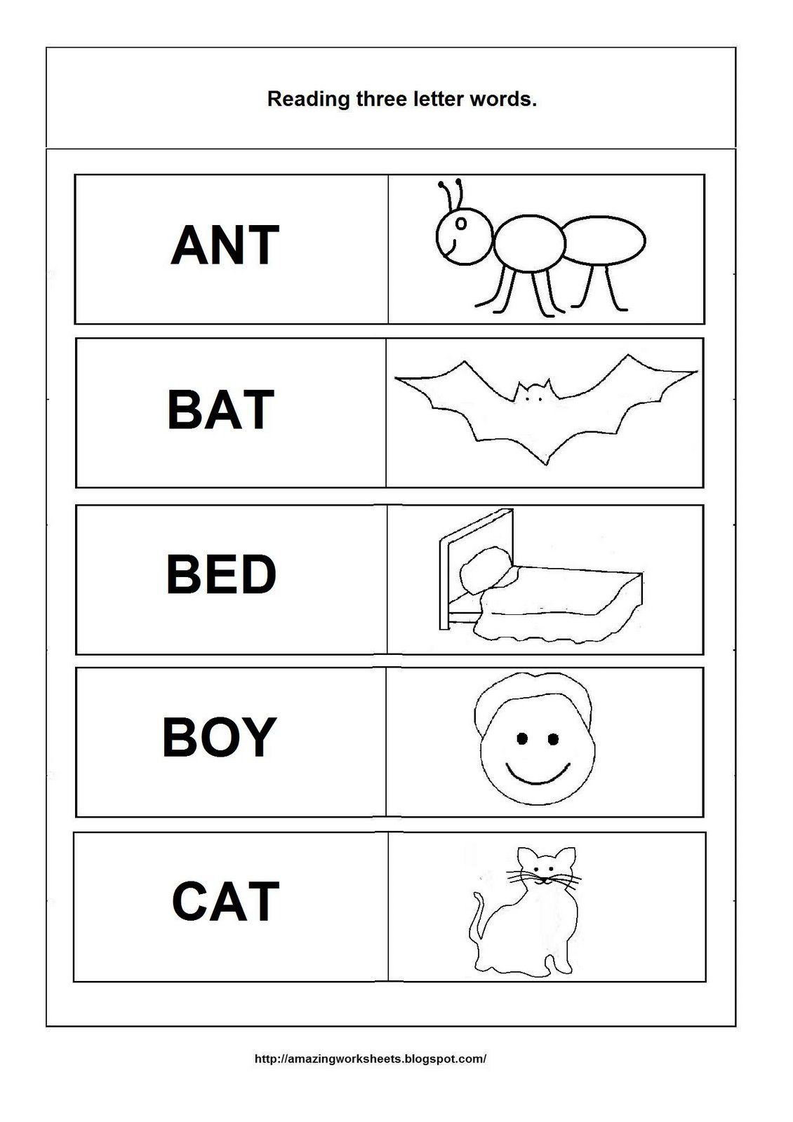 Three Letter Words Tracing Worksheets