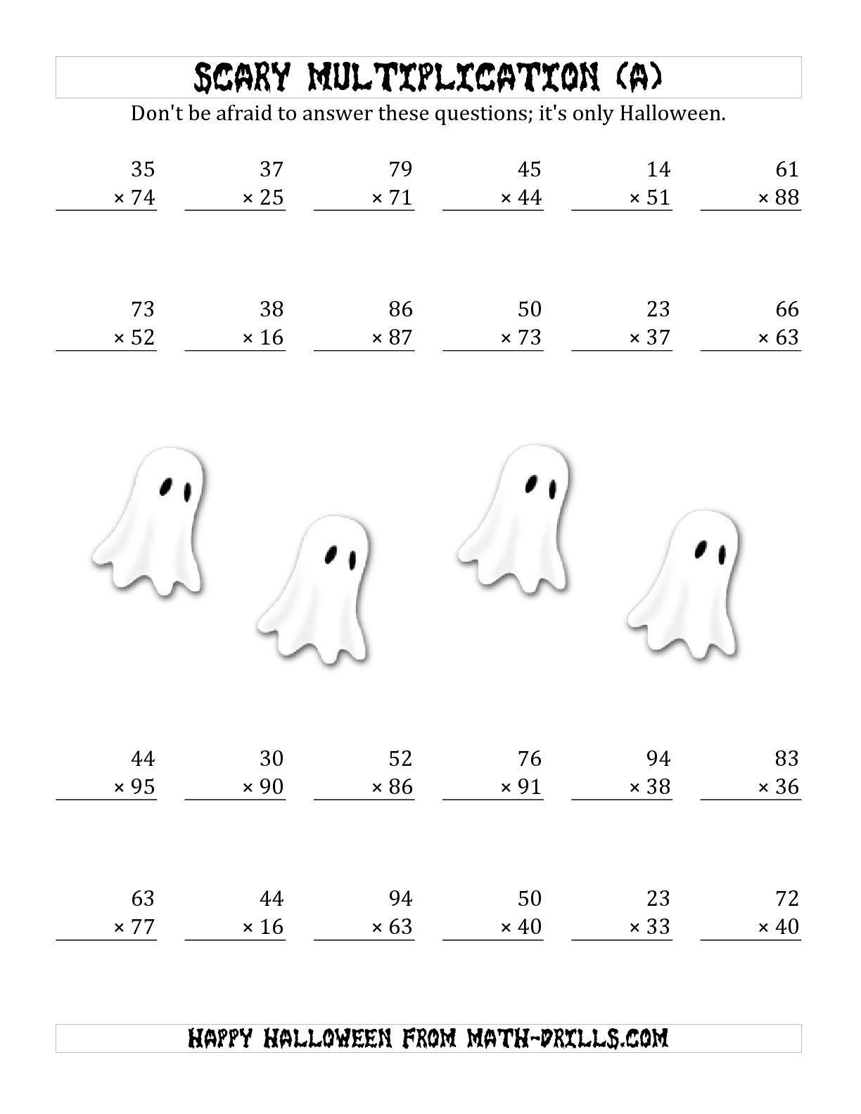 3rd Grade Halloween Math Worksheet Multiplication