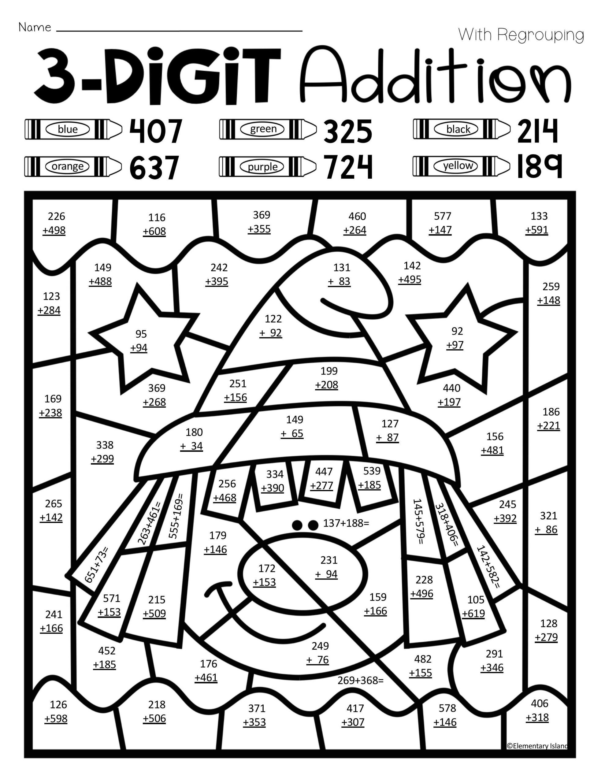 3 Digit Addition Coloring Worksheets Christmas