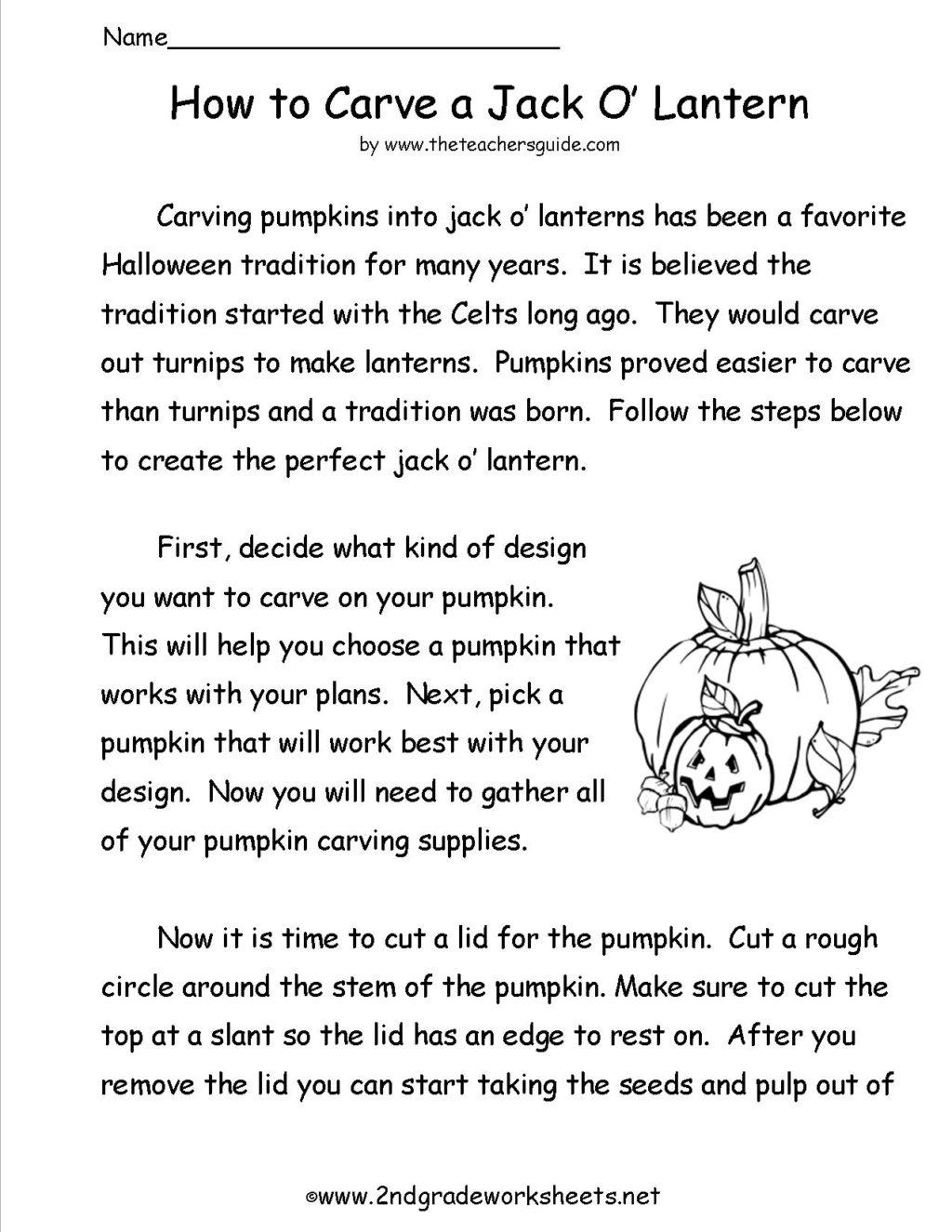 Easy Halloween Reading Worksheet