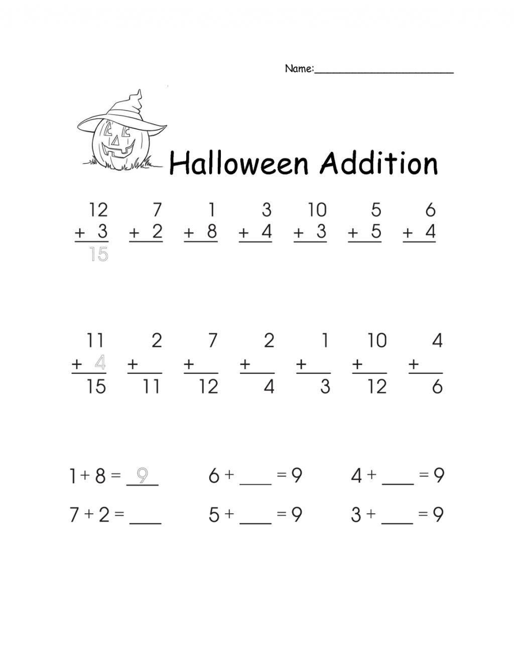 Halloween Math First Grade Worksheets