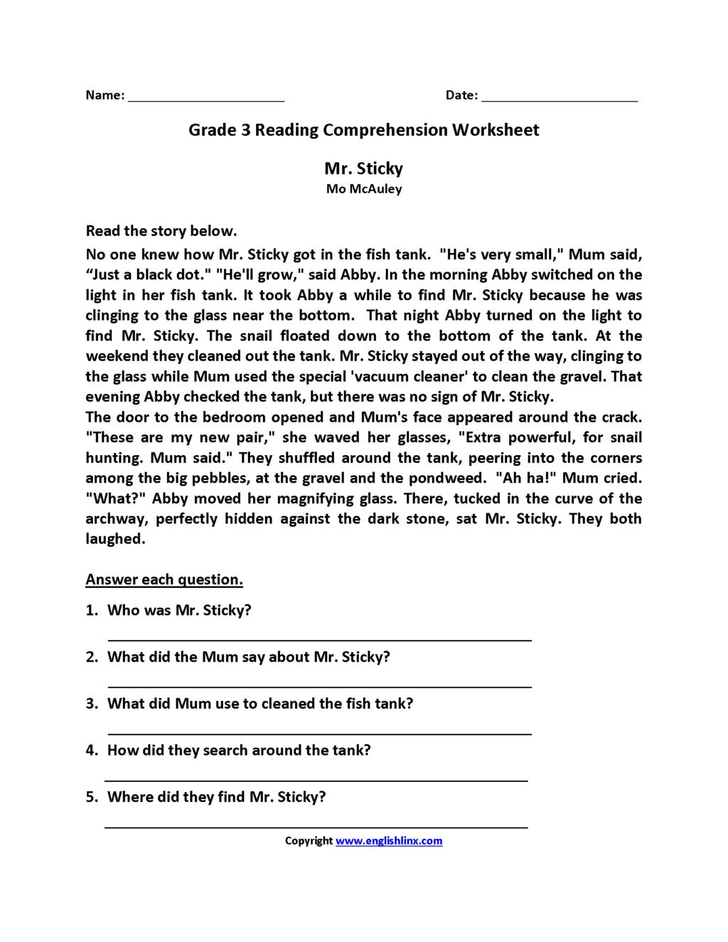 3rd Grade Christmas Reading Comprehension Worksheets