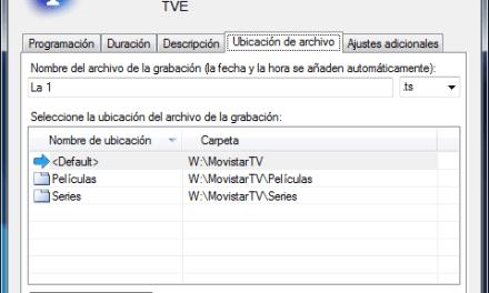 Guía de grabación de canales: ubicación del archivo