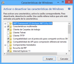 Lista de las características de Windows