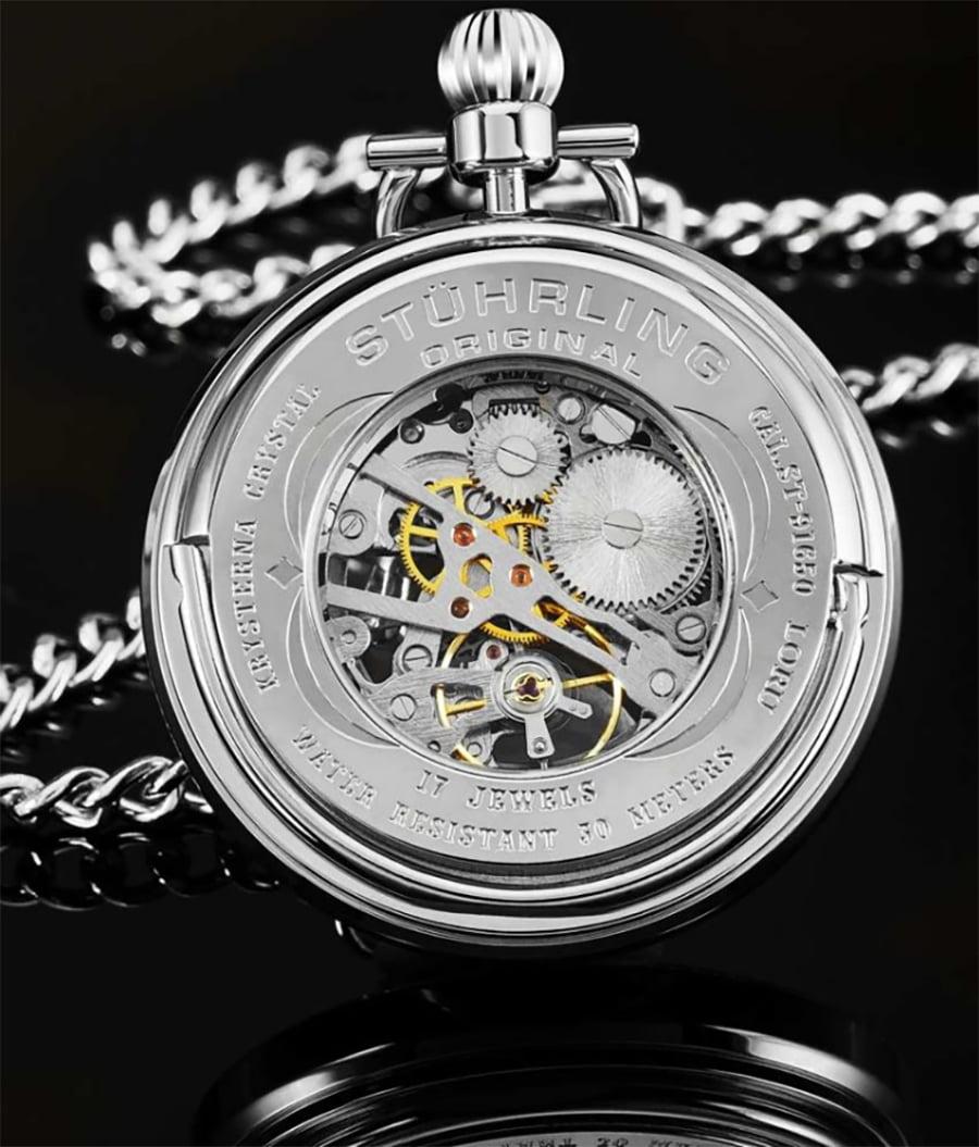 Stührling Vintage 6053 Hand-wind 47mm Skeleton Pocket Watch