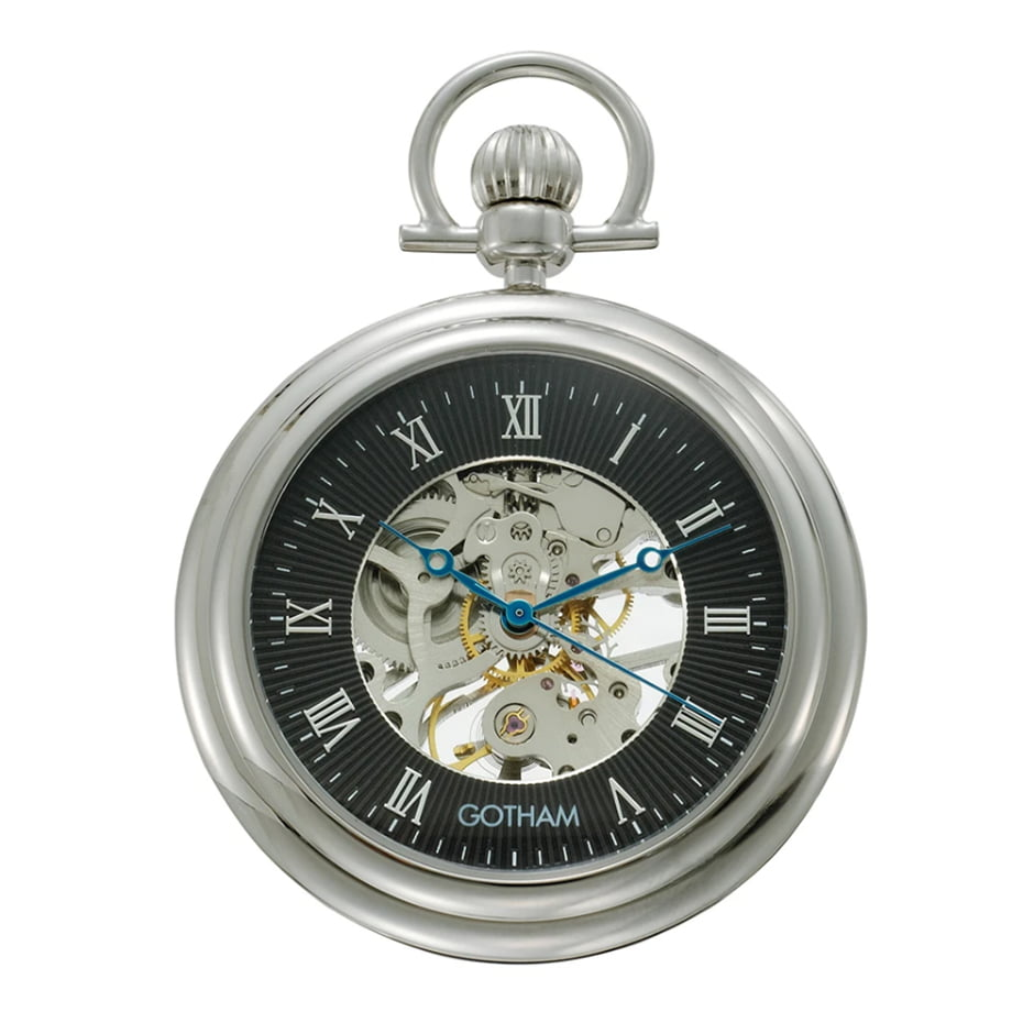 Gotham Men's Silver-Tone Mechanical Pocket Watch with Built-In Stand GWC14055SB
