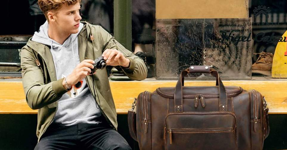 Polare Leather Weekender Bag for Men