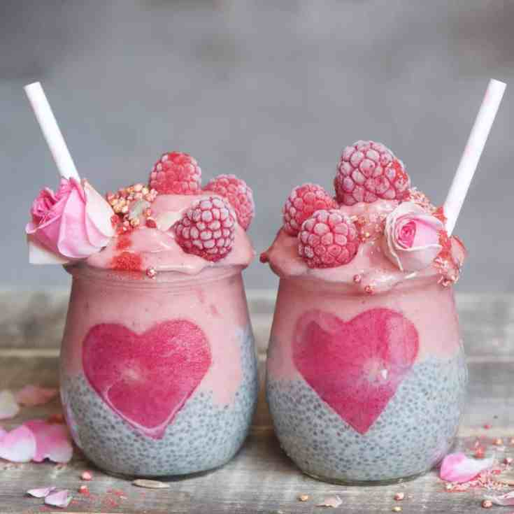 These Vegan chia jars are a perfect, nutritional breakfast with a simple raspberry smoothie layered on top of my classic chia pudding