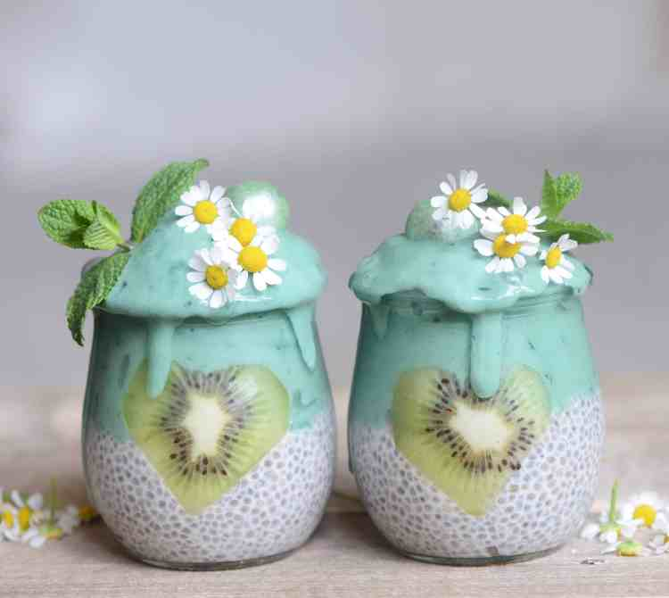 These Vegan chia jars are a perfect, nutritional breakfast with a simple mint spirulina smoothie layered on top of a classic vegan chia seed pudding. This recipe will keep you full for longer, give you a boost of energy, plus- it's delicious!