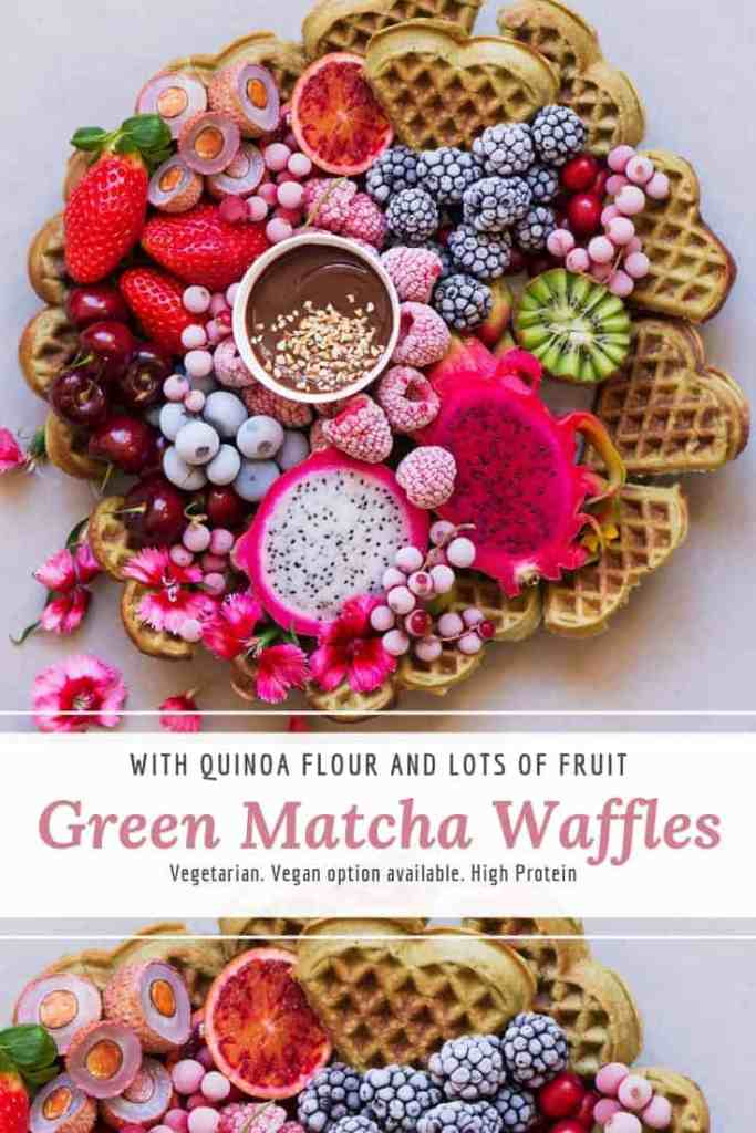 high protein green matcha waffles with lots of fruit. healthy breakfaxt. green waffles.