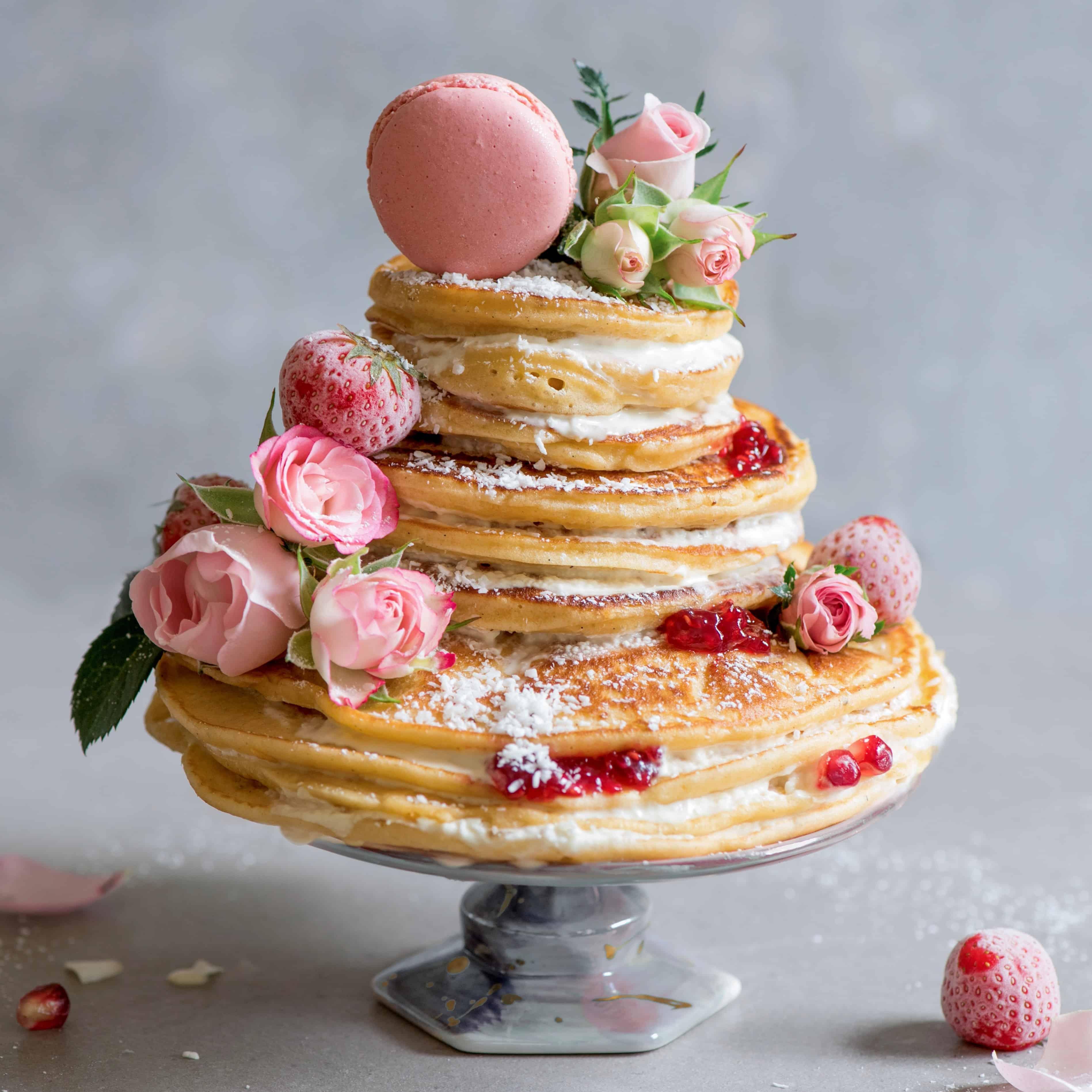Royal Wedding Pancake Cake W Coconut Cream Frosting