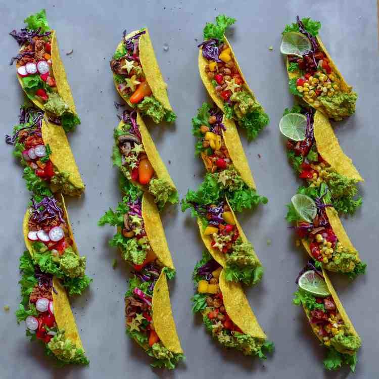 rainbow vegetarian tacos 4 ways