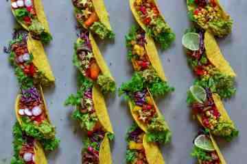 rainbow vegetarian tacos 4 ways
