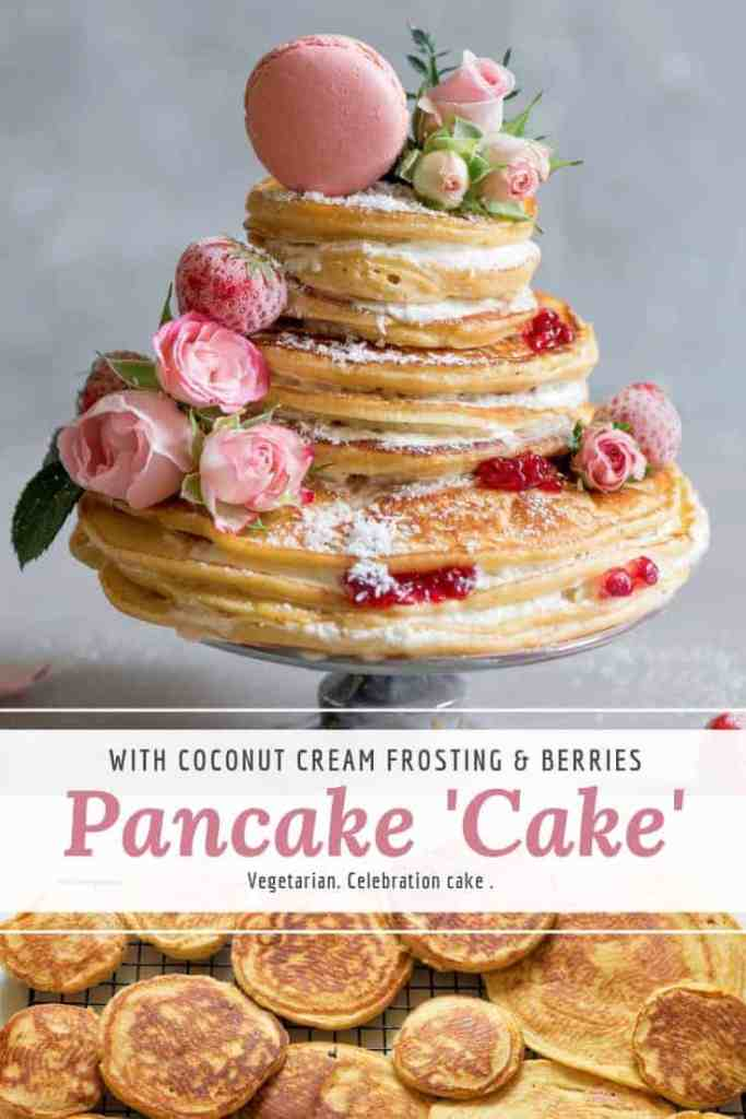 celebration pancake cake with coconut cream and berries