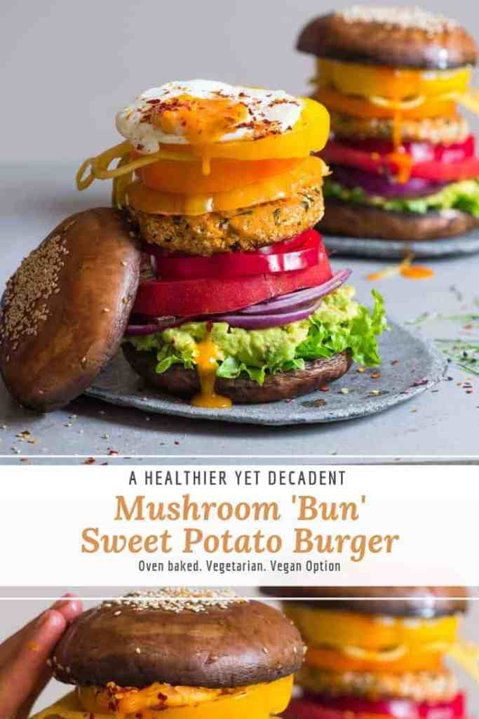 mushroom bun veggie burger with sweet potato patty and lots of vegetables. Vegetarian/ vegan burger