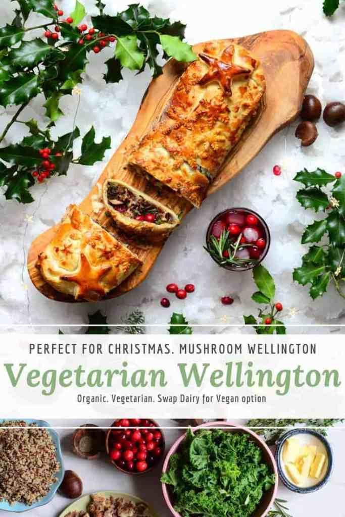 healthy vegetarian christmas mushroom wellingtonwwith cranberries