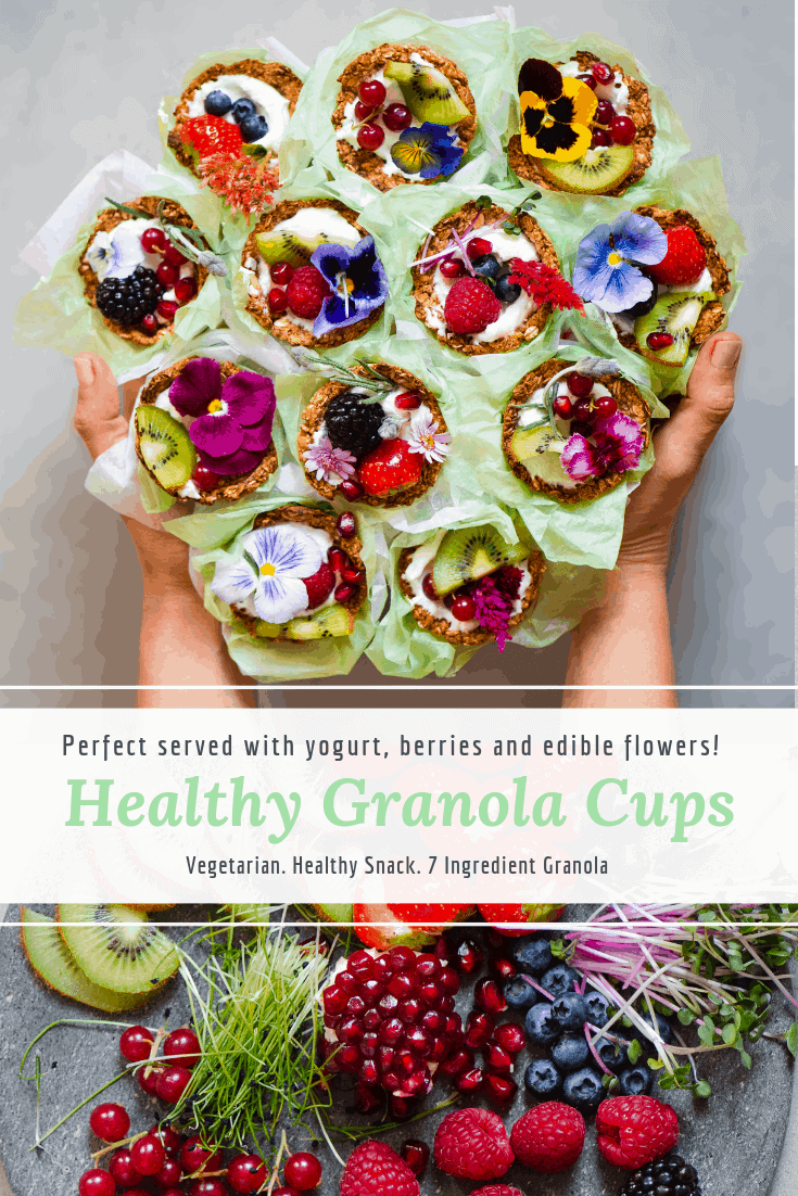 granola cups fruit yogurt edible flowers