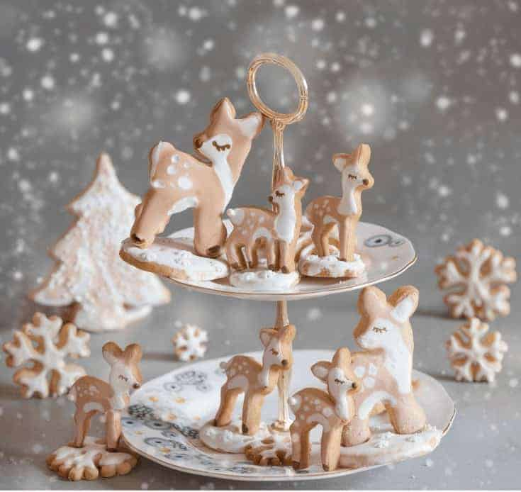 Orange Christmas sugar cookies - Fawn  snowflakes