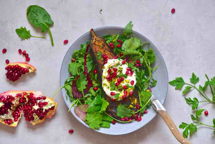 healthy vegetarian baked aubergine summer salad recipe with yogurt, pomegranate & pistachio