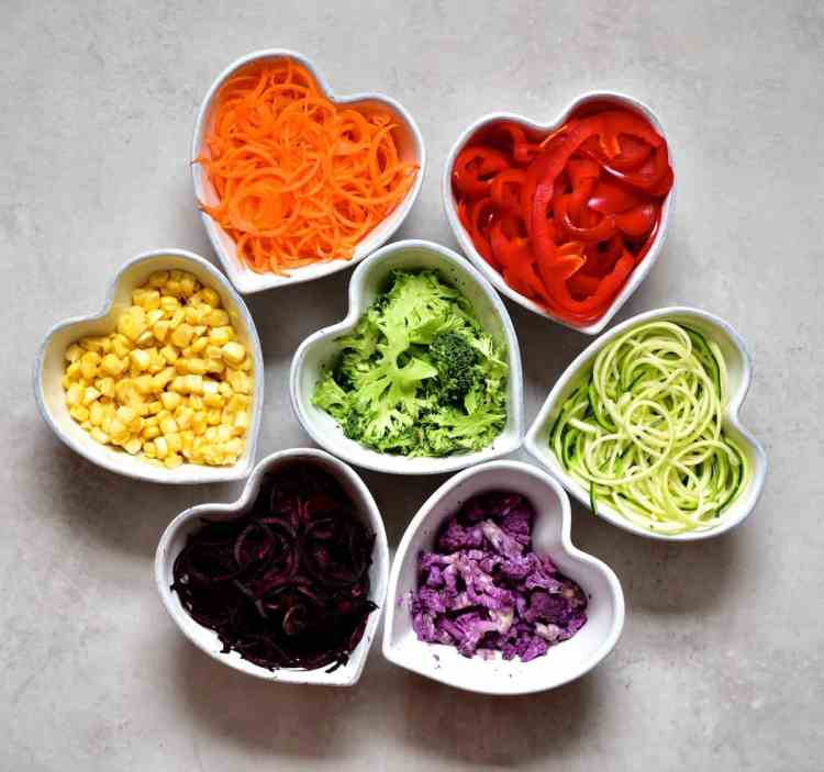 ingredients for Rainbow mixed vegetable savoury cupcakes