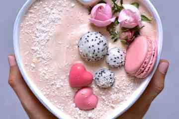 Raspberry smoothie bowl. 5 minute breakfast, healthy, vegetarian, pink food