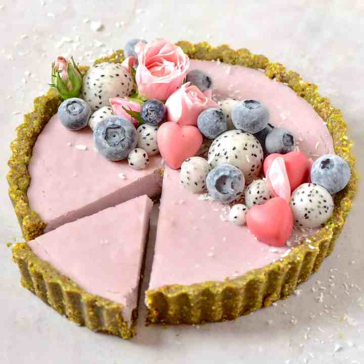 Vegan Strawberry Rose Tart