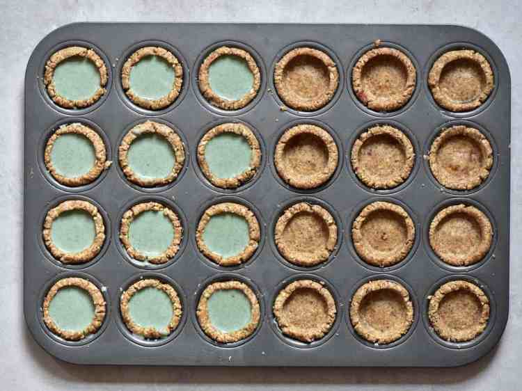 bite-sized mint flavoured green filling for bite-sized mini vegan tarts for vegan afternoon tea