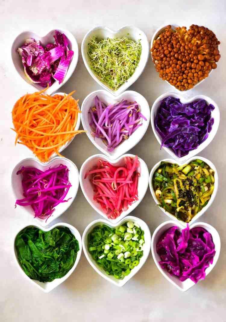 Rainbow veggies for homemade bibimbap