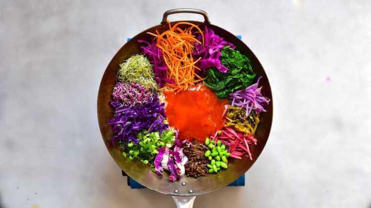 Rainbow veggies on top of rice for a homemade bibimbap
