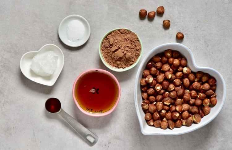 ingredients for homemade vegan nutella sprerad