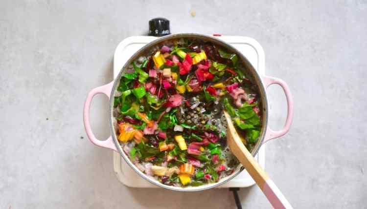 lentil soup and swiss chard . healthy, vegan soup