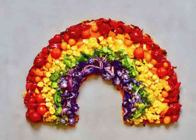 healthy vegetarian sweet potato crust rainbow pizza recipe