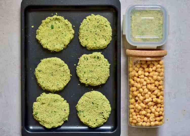 using leftover food to make veggie burgers. use leftover chickpeas. food storage hacks