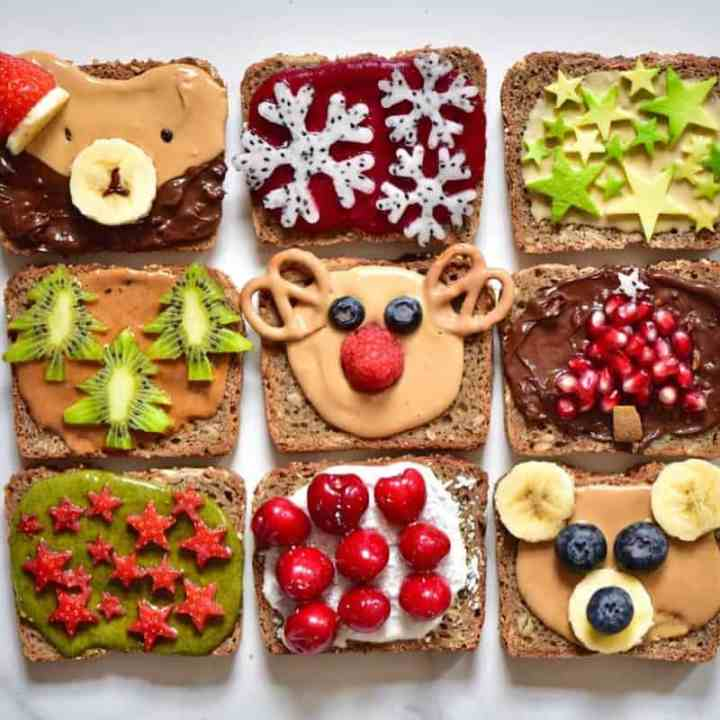 Christmas breakfast ideas perfect for christmas day breakfast - 9 healthy Christmas toast recipes including homemade nut butters, coconut yogurt and fruits. Plus these are easy Christmas recipes for Children