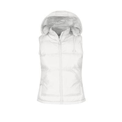 Gilet impermeabile con cappuccio rimovibile lavoro donna colore bianco