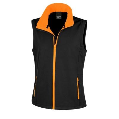 Giacca smanicata in softshell a due strati lavoro donna colore nero arancio