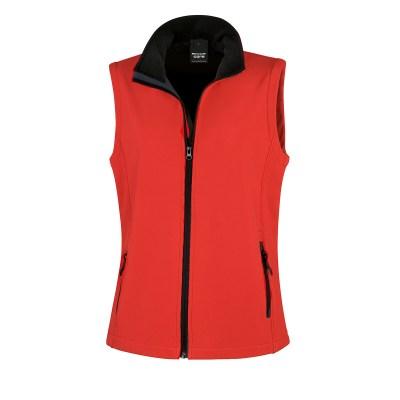 Giacca smanicata in softshell a due strati lavoro donna colore rosso nero