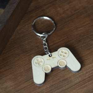 porte clé bois keychain retro gaming playstation manette jeux vidéos