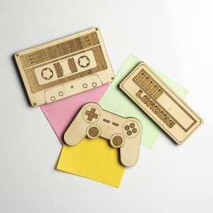 gaming 90's jeux vidéos musique tv retro gaming magnet bois