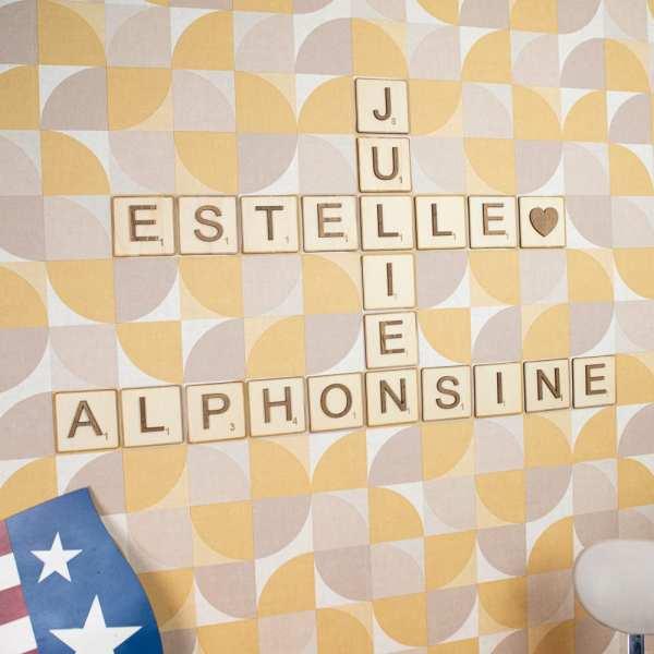 décoration murale lettre personnalisé scrabble alphabet chambre salon enfant made in france