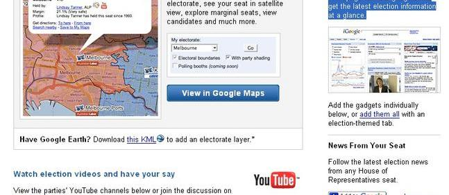 Google gets political with Australian elections website