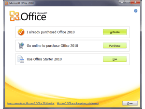 Office Starter first screen