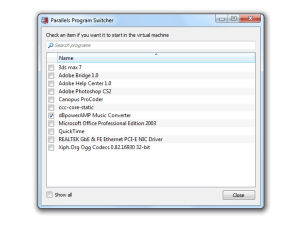 Parallels' Program Switcher makes it easy to select which programs should launch in a virtual OS.
