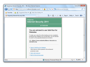 When you visit an online banking site or other sensitive web page, Kaspersky Internet Security 2011 recommends you use the ne
