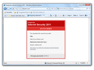Kaspersky Internet Security 2011 retains the simple but effective web protection capabilities of its predecessor
