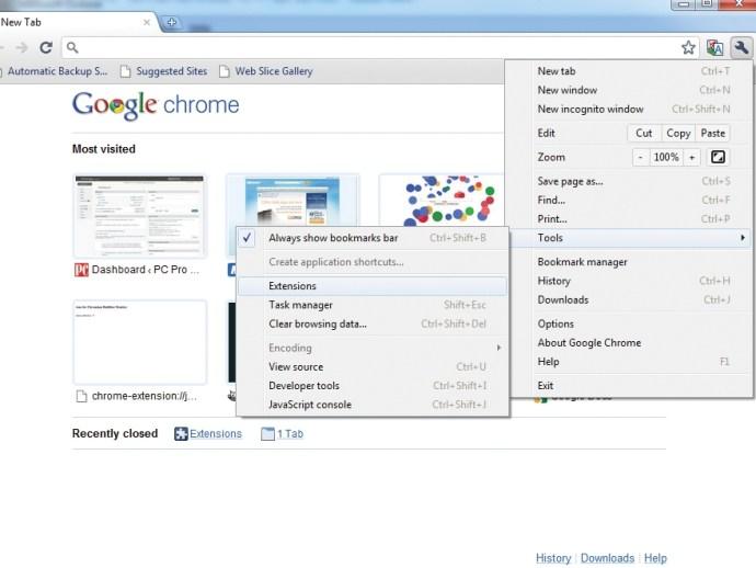 Open extensions menu